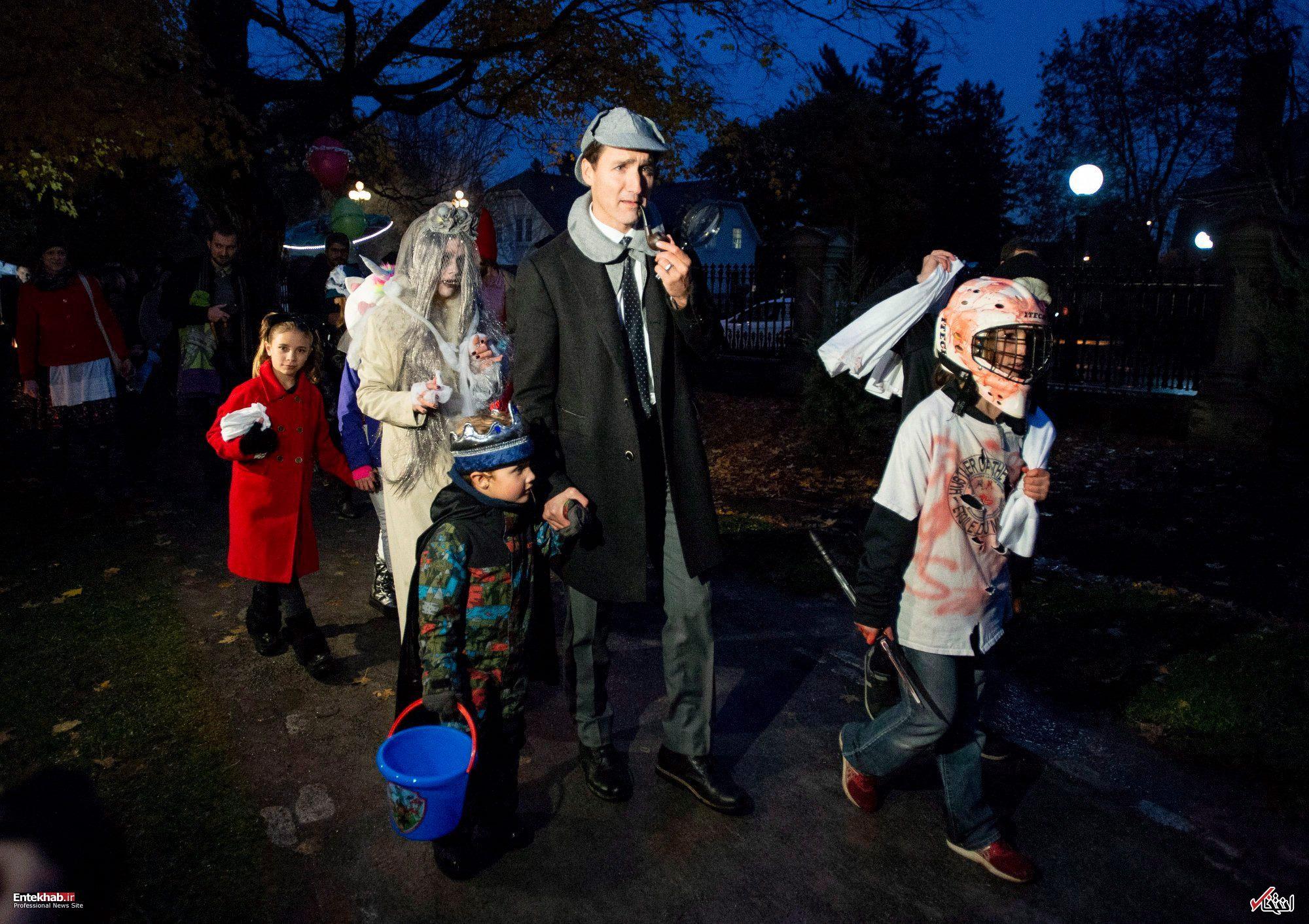 عکس/ ظاهر متفاوت نخست وزیر کانادا و همسرش در جشن هالووین