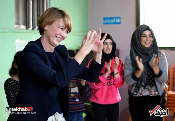 تصاویر : لحظات شاد همسر رئیس جمهور آلمان در میان آوارگان فلسطینی