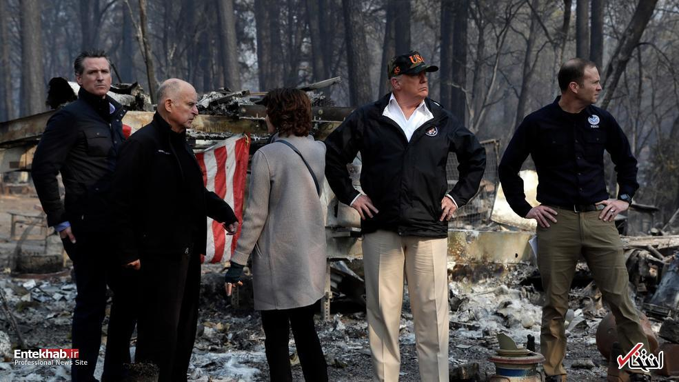 تصاویر : بازدید دونالد ترامپ از شهر سوخته پارادایس کالیفرنیا