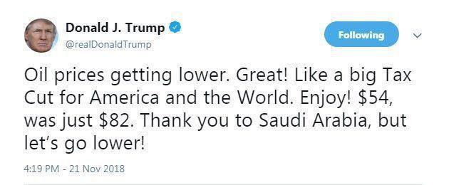 تشکر ترامپ از ریاض درپی ارزان شدن قیمت نفت: لذت ببرید! نفت ۸۲ دلاری الان ۵۴ دلار است/ از عربستان متشکریم اما باید قیمت پائینتر برود!