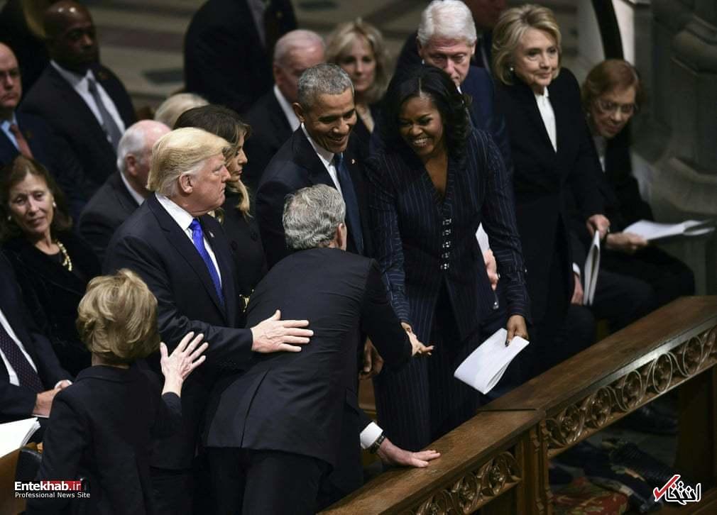 تصاویر : حاشیههایی از تشییع جنازه جورج بوش پدر؛ کنار هم نشستن ترامپ، اوباما، کلینتون و کارتر