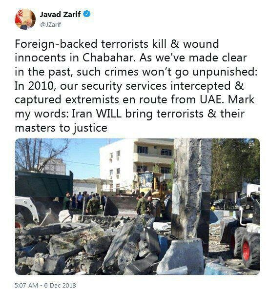 ظریف: تروریستها و اربابانشان را به سزای عملشان میرسانیم
