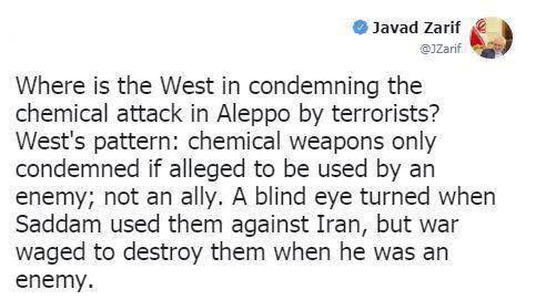 ظریف: چرا غرب حمله شیمیایی در حلب را محکوم نمیکند؟