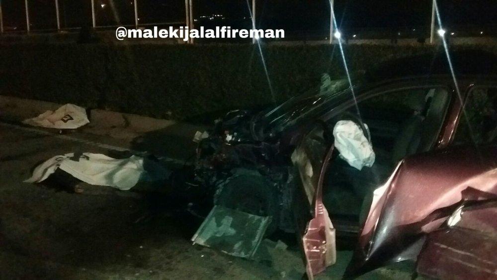 تصاویر / تصادف مرگبار در تهران؛ سرنشینان ۲۰۶ به بیرون پرتاب شدند