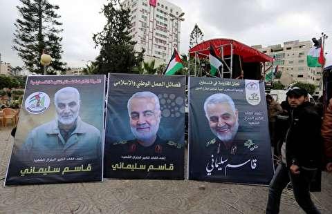 تصاویر : بزرگداشت شهادت سردار سلیمانی در غزه