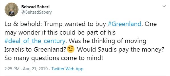 مشاور وزیر خارجه: آیا ترامپ در این فکر بوده که اسرائیلی ها را به گرینلند منتقل کند؟