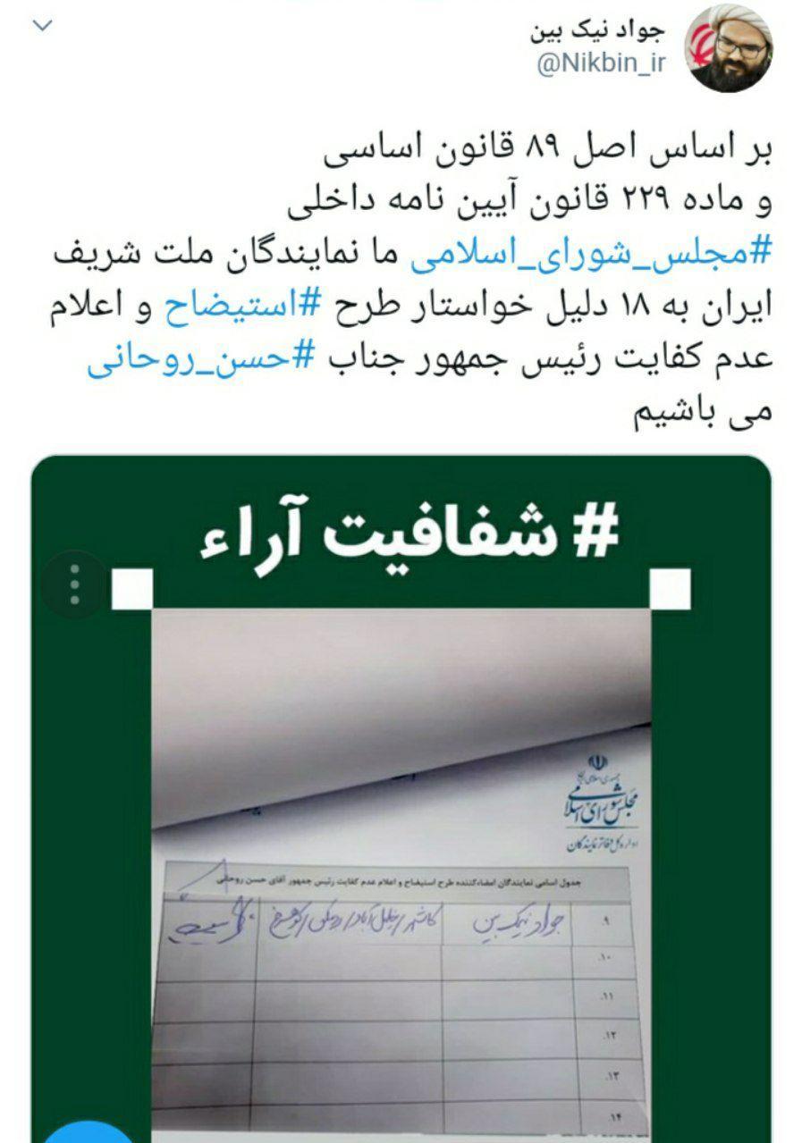 جمع آوری امضا در مجلس برای «استیضاح» روحانی