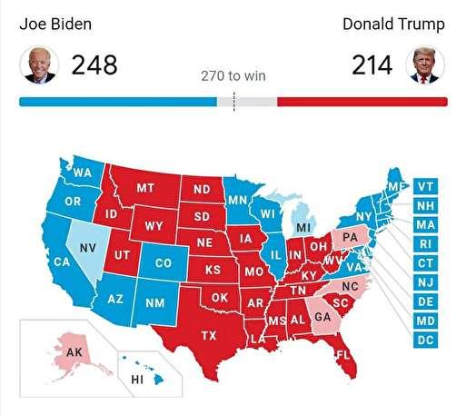بایدن ۲۴۸ به ۲۱۴ در کسب الکتورال، پیشتاز است / بایدن در ایالت کلیدی ویسکانسین پیروز شد / ستاد ترامپ خواستار بازشماری آرا شد / پس از ویسکانسین، میشیگان هم آبی شد؛ بایدن در آستانه کسب ۲۷۰ رای الکتورال و پیروزی نهایی قرار گرفت / ترامپ: دیشب در ایالتهای کلیدی پیش افتاده بودم؛ حالا به طرز معجزهآسایی تک تک آنها ناپدید شدند / وقفه در اعلام نتایج شمارش آرا / ترامپ: رک بگویم؛ انتخابات را بردیم؛ خود را آماده جشن بزرگ میکنیم؛ دموکراتها به دنبال سرقت انتخابات هستند / ستاد بایدن: تیم حقوقی ما برای مقابله با تهدید ترامپ درباره جلوگیری از شمارش آرا آماده است