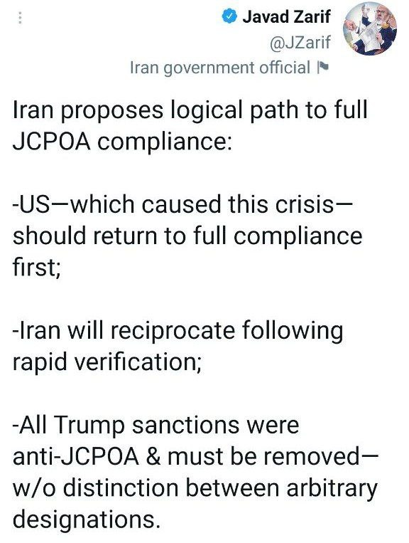 ظریف: تمام تحریم های دوره ترامپ مغایر با برجام بود؛ همگی باید برداشته شوند