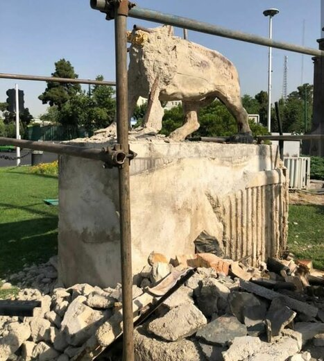 تخریب مجسمه شیرهای ۸۵ ساله میدان حر